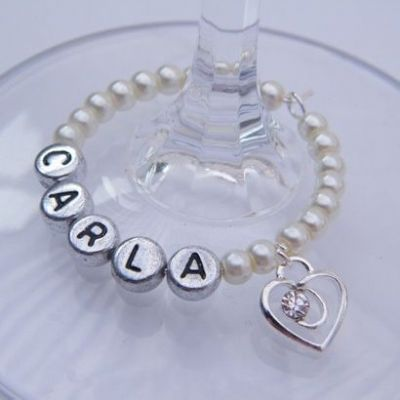 Clear Sparkle Swirl Heart Personalised Wine Glass Charm - Full Bead Style